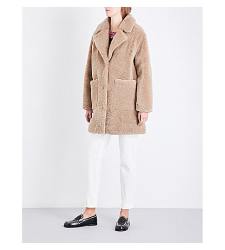 CLAUDIE PIERLOT Notch-lapel shearling coat (Beige