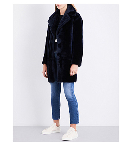 CLAUDIE PIERLOT Notch-lapel shearling coat (Marine