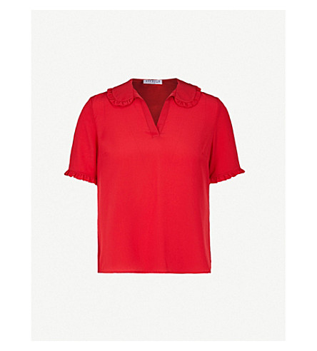 CLAUDIE PIERLOT Frilled-trim silk-crepe top (Red