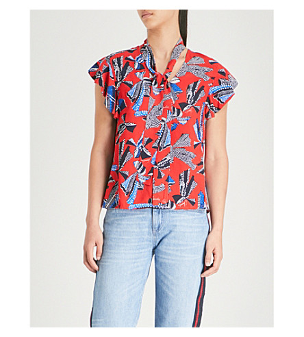 CLAUDIE PIERLOT Dot-print waist-tie crepe top (Rouge