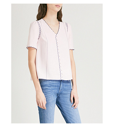 CLAUDIE PIERLOT Scalloped embroidery crepe top (White