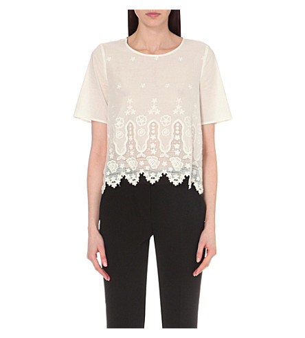 CLAUDIE PIERLOT Blue embroidered cotton top (Blanc