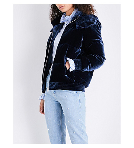 CLAUDIE PIERLOT Hooded velvet puffer jacket (Marine