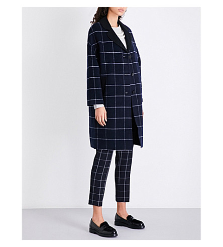 CLAUDIE PIERLOT Checked wool-blend coat (Marine
