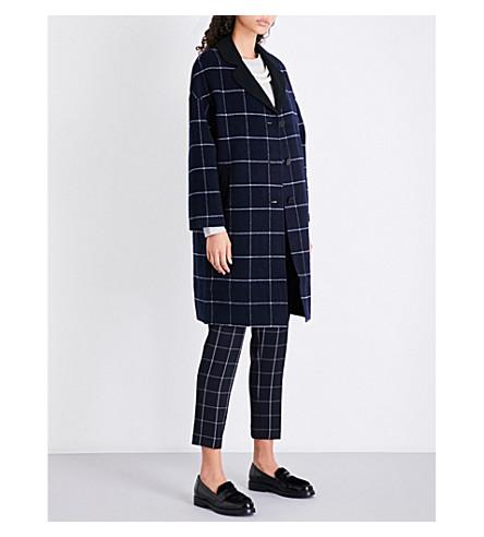 CLAUDIE PIERLOT 方格羊毛混纺大衣 (海洋