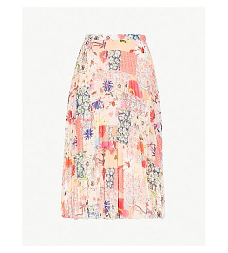 CLAUDIE PIERLOT Patchwork floral-print pleated chiffon skirt (Pink