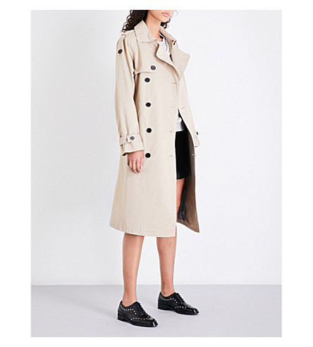 CLAUDIE PIERLOT Double-breasted cotton-twill trench coat (Beige