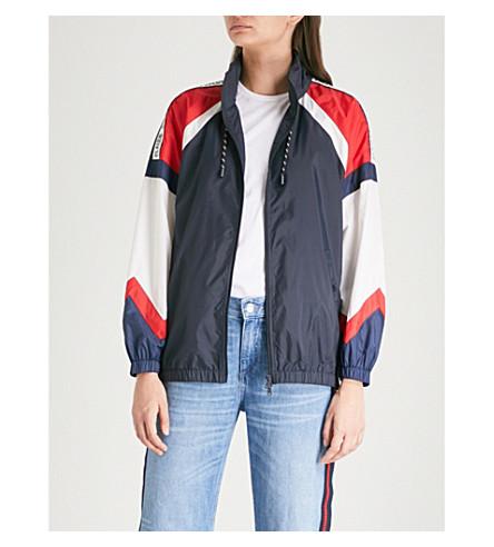 CLAUDIE PIERLOT Contrasting-panel funnel-neck shell jacket (Marine