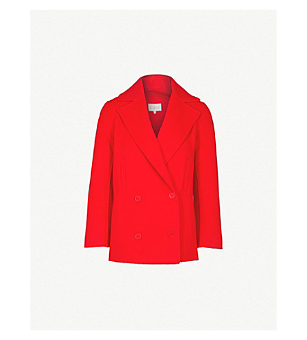 CLAUDIE PIERLOT Gift notch-lapel wool-blend coat (Red