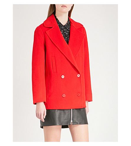 CLAUDIE PIERLOT Gift notch-lapel wool-blend coat (Red