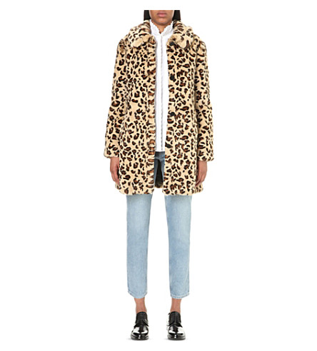 CLAUDIE PIERLOT Gallagher leopard-print faux-fur coat (Beige