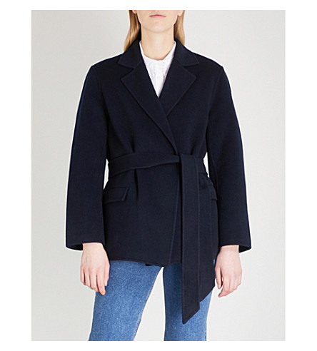 CLAUDIE PIERLOT Notch-lapel wool-blend wrap jacket (Blue