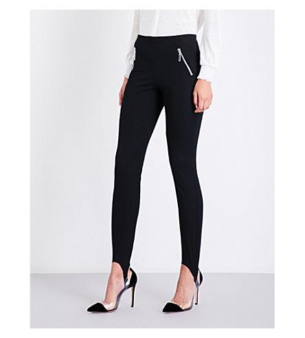 CLAUDIE PIERLOT Stirrup-detailed high-rise skinny jeans (Noir