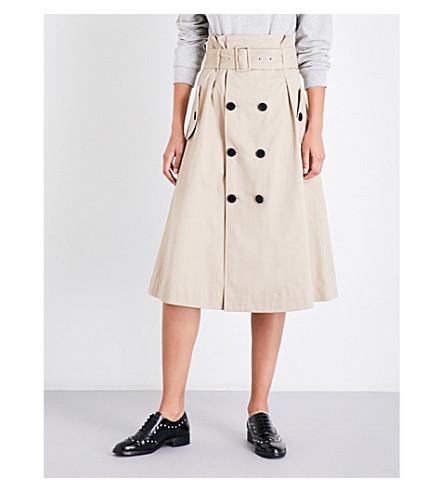 CLAUDIE PIERLOT A-line cotton-twill skirt (Beige
