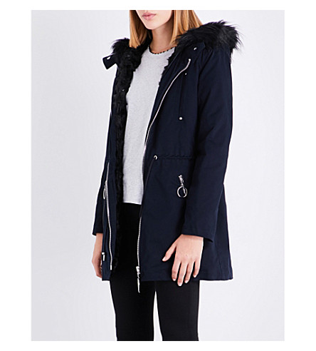 CLAUDIE PIERLOT Faux-fur-lined stretch-cotton coat (Marine