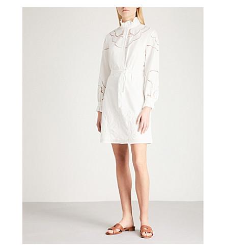 CLAUDIE PIERLOT Embroidered belted cotton-poplin mini dress (White