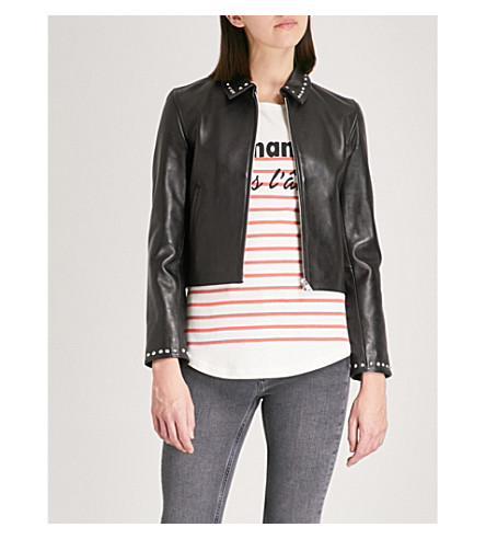 CLAUDIE PIERLOT Studded leather jacket (Black