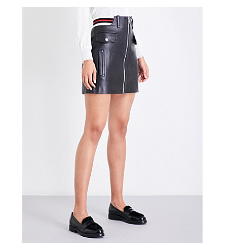 CLAUDIE PIERLOT Canberra A-line leather skirt (Noir