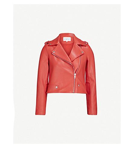 CLAUDIE PIERLOT Biker-collar leather jacket (Coral
