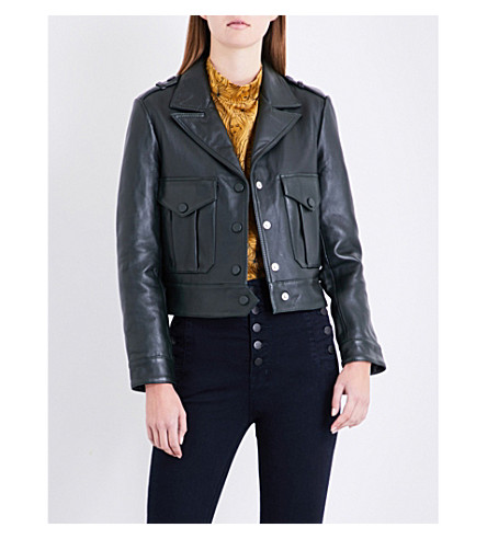 CLAUDIE PIERLOT Cropped leather biker jacket (Kaki