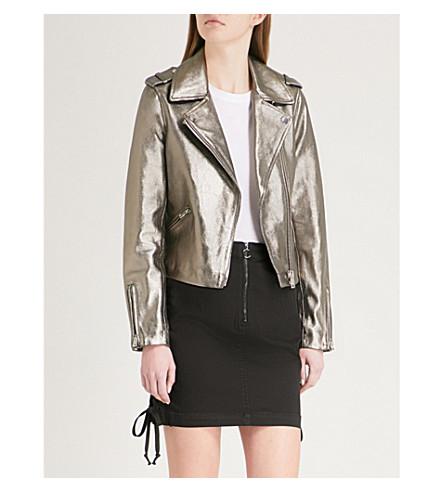 CLAUDIE PIERLOT Metallic leather biker jacket (Green