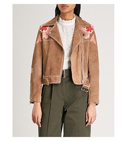 CLAUDIE PIERLOT Floral-embroidered suede jacket (Cream