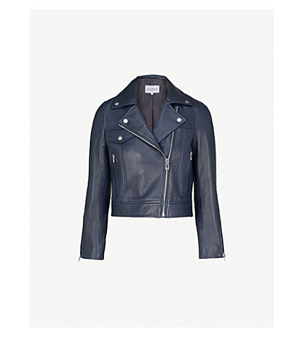 CLAUDIE PIERLOT Biker-collar cropped leather jacket (Blue