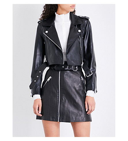 CLAUDIE PIERLOT Cactus leather biker jacket (Noir