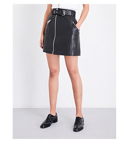 CLAUDIE PIERLOT Casino A-line leather skirt (Noir