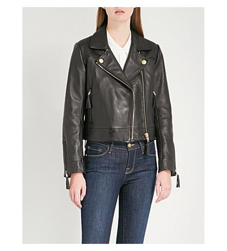 CLAUDIE PIERLOT Castel leather biker jacket (Black