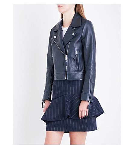 CLAUDIE PIERLOT Castel leather jacket (Marine