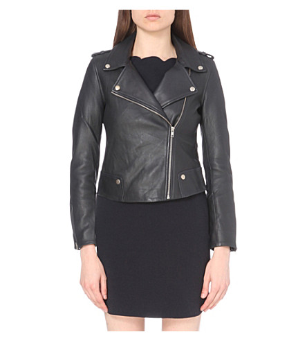 CLAUDIE PIERLOT Coconut leather biker jacket (Marine