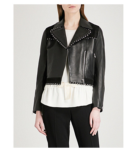 CLAUDIE PIERLOT Suede panel and eyelet-detail leather jacket (Black
