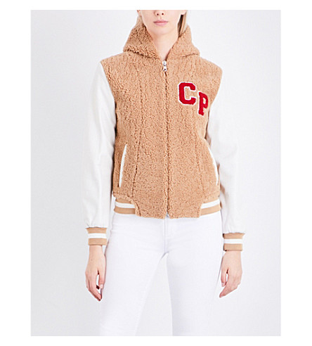 CLAUDIE PIERLOT Calin shearling and leather bomber jacket (Camel