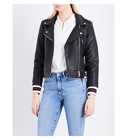 CLAUDIE PIERLOT Chleo striped-trim leather jacket (Noir
