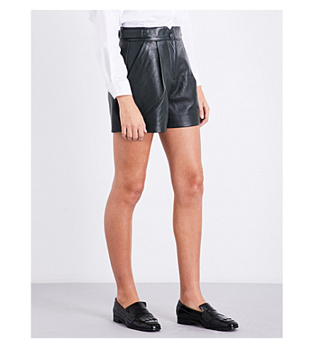 CLAUDIE PIERLOT High-waisted leather shorts (Kaki