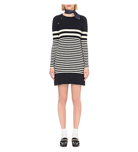 CLAUDIE PIERLOT Marine striped wool dress (Marine