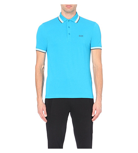 HUGO BOSS Paddy contrast-trim polo shirt (Bright+blue