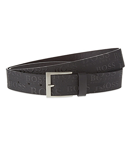 BOSS GREEN Logo leather belt (Black