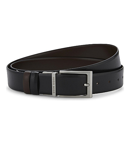 BOSS BLACK Orvin leather belt (Black