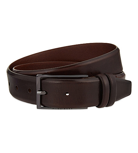 BOSS BLACK Carmello leather belt (Dark+brown