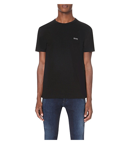 BOSS GREEN Branded cotton-jersey T-shirt (Black