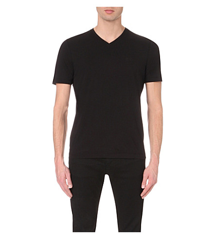 BOSS BLACK CASUAL V-neck cotton-jersey t-shirt (Black