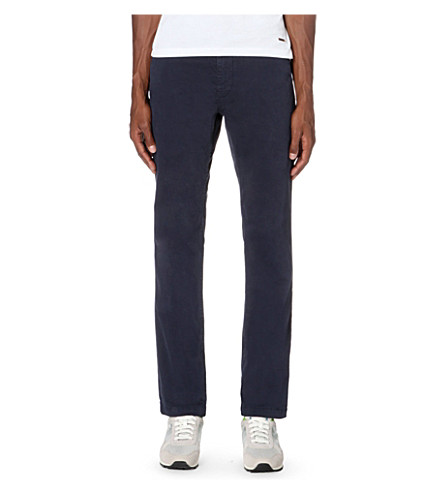 BOSS ORANGE Slim-fit stretch-cotton trousers (Dark+blue