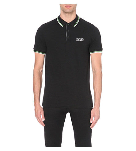 BOSS GREEN Logo-detail stretch-jersey polo shirt (Black