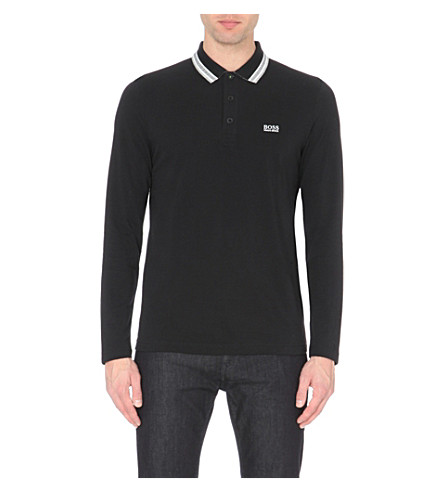 BOSS GREEN Modern-fit cotton-piqué polo shirt (Black