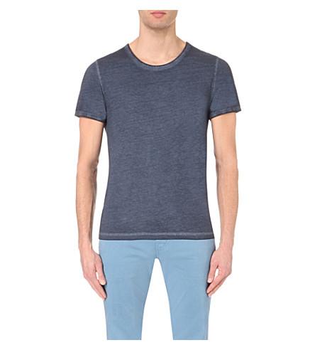 BOSS ORANGE Faded-seam cotton t-shirt (Dark+blue