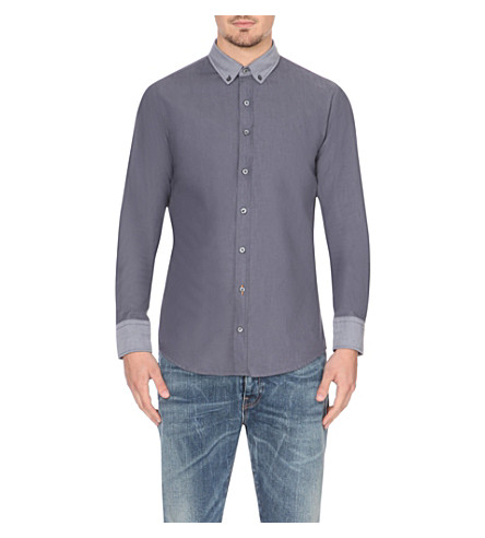 HUGO BOSS Contrast-trim slim-fit cotton shirt (Medium+blue