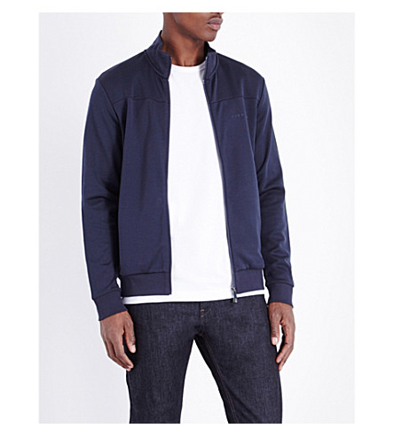 HUGO BOSS Logo-embroidered jersey jacket (Navy