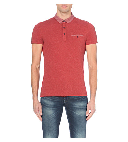 BOSS Contrast-trim cotton-jersey polo shirt (Bright+red